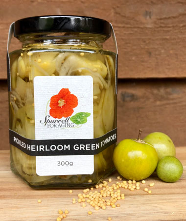 Our Pickled Green Heirloom Tomatoes
